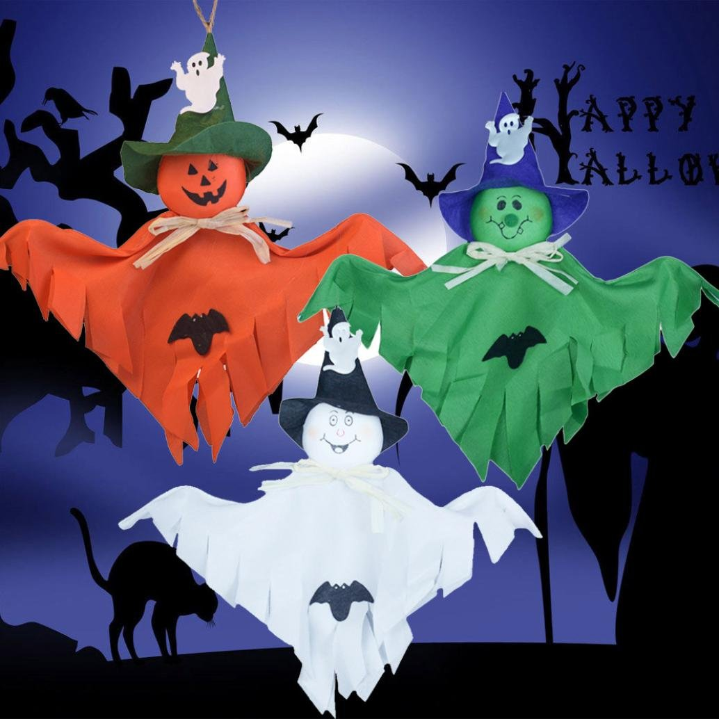 Single Ghost Pendant,VIASA Cute Ghost Halloween Decoration Kids Toys 2 Pcs (Green) by VIASA_ (Image #3)
