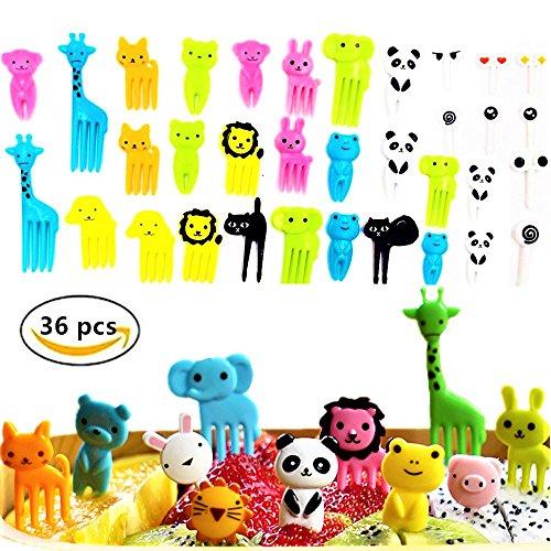 (Set of 36) JeVenis Cute Animals Food Fruit Picks Forks Bento Box Lunch Box Decorative Animals Mini Cartoon Toothpick Bento Lunch (Little Toothpick)