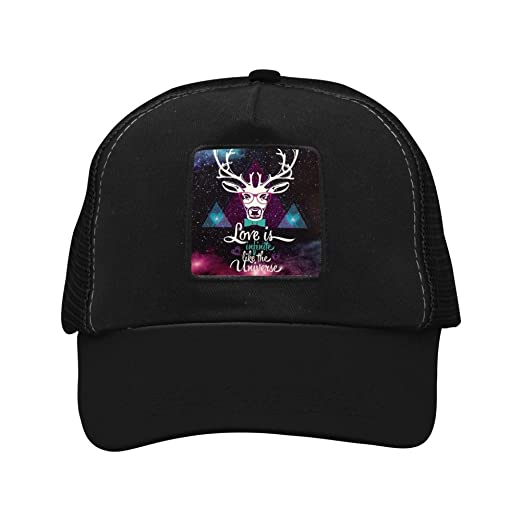 faa66c176299af PGtwo Hip Hop Galaxy Triangle Deer Trucker Hat Unisex Adjustable Mesh Cap  Black