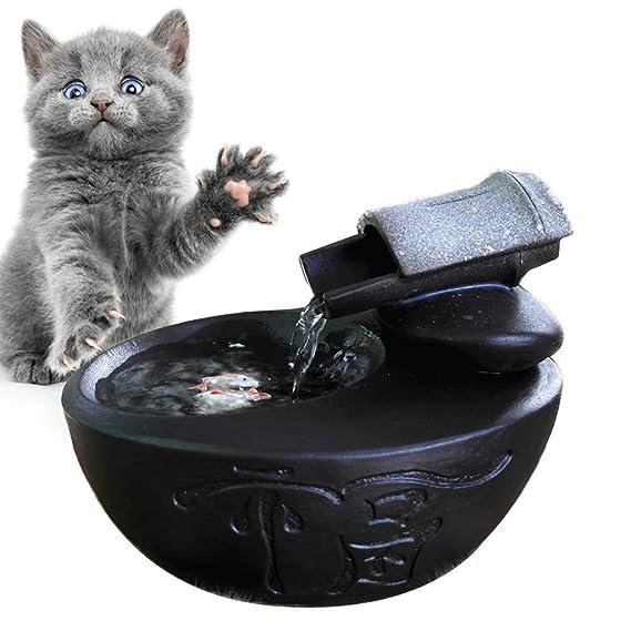 AA-pet water dispenser CWYSJ Fuentes para Mascotas de cerámica para Fuentes de Agua Potable para Gatos Fuente de Agua Que circula de Forma automática para ...