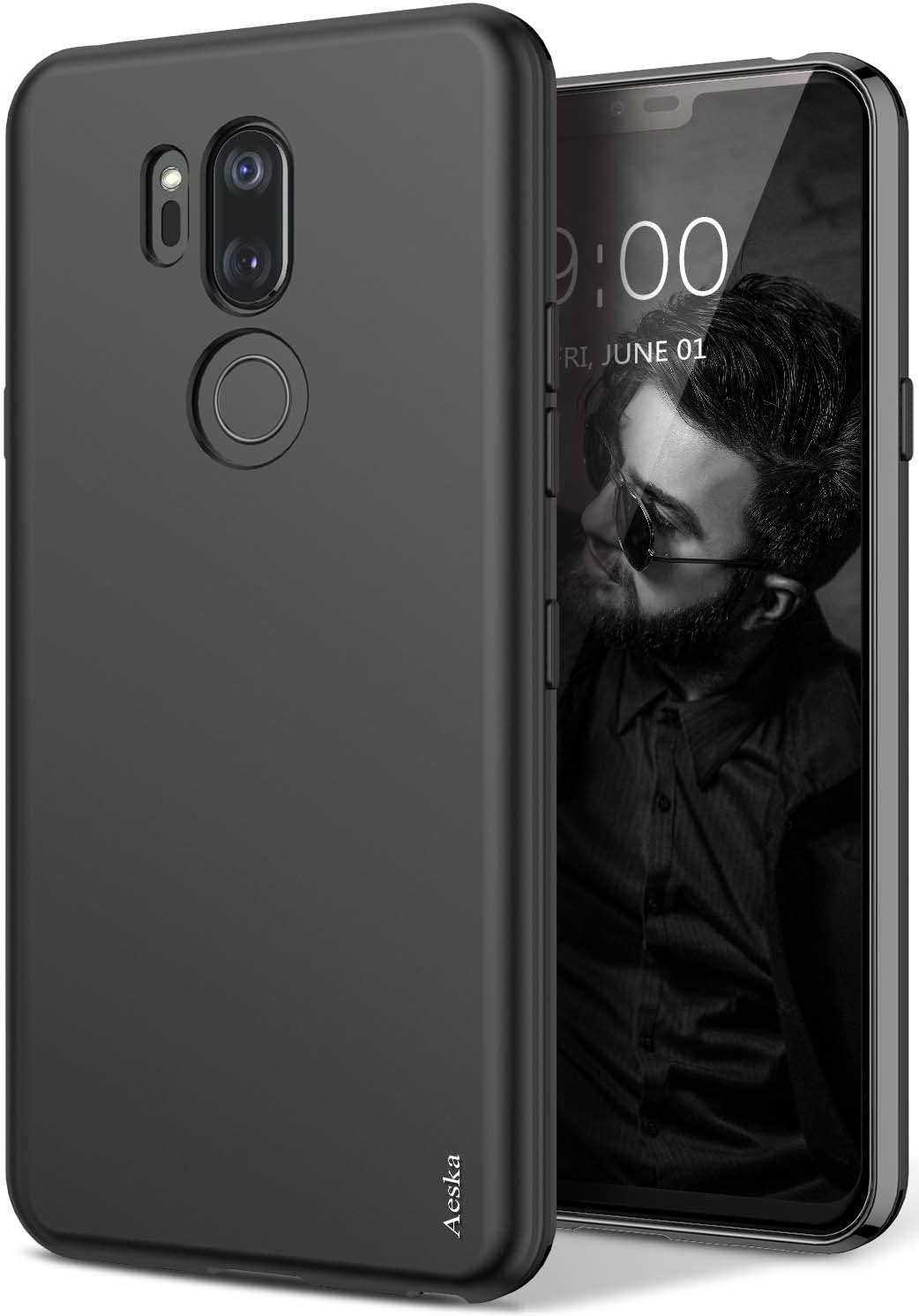 Aeska LG G7 Case, LG G7 ThinQ Case, Ultra [Slim Thin] Flexible TPU Gel Rubber Soft Skin Silicone Protective Case Cover for LG G7 / LG G7 ThinQ (Black)