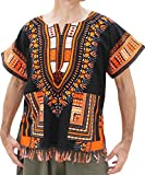 RaanPahMuang Bold Cotton Dashiki Unisex African Shirt with Tassels and Pockets, X-Small, Orange Black