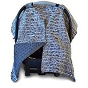 2 in 1 Carseat Canopy and Nursing Cover Up with Peekaboo Opening   Large Infant Car Seat Canopy for Girl or Boy   Best Baby Shower Gift for Breastfeeding Moms   Grey Herringbone Pattern and Grey Minky