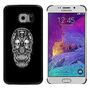Paccase / SLIM PC / Aliminium Casa Carcasa Funda Case Cover - White Black Ink Tattoo Minimalist - Samsung Galaxy S6 EDGE SM-G925