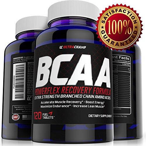 BCAA Powerflex récupération formule par Ultrachamp - Extra force ramifiée chaine acides aminés aider vous accélérer la récupération musculaire pour l'Endurance de maximiser les Gains massifs - Boost énergétique, - contient L-Arginine, L-Leucine, L-Isoleuc
