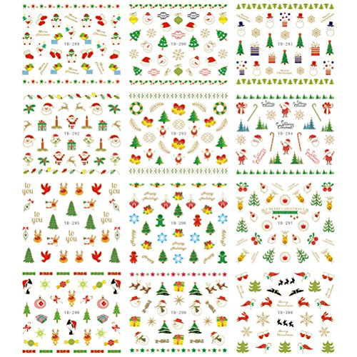 Tinksky Christmas Halloween Water Transfer 3D Nail Art Sticker Decals Manicure Watermark Tattoos Nail Art Tip for $<!--$5.99-->