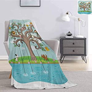 Luoiaax Cartoon Rugged or Durable Camping Blanket Tree of Life Cartoon Art Monkey Doggy Bunny Bee Chicken Burds Fishing Warm and Washable W60 x L70 Inch Cocoa Teal Turquoise