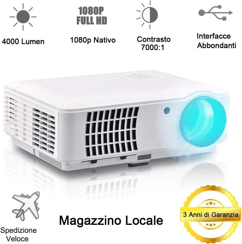 1080P Videoproyector LED Video proyector Full HD Proyector 3D 4000 ...