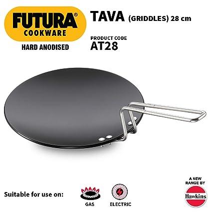 Futura hard Anodised Griddlle Tawa Pancake Pan with Plastic Handle 6.35mm 26cm Crepe