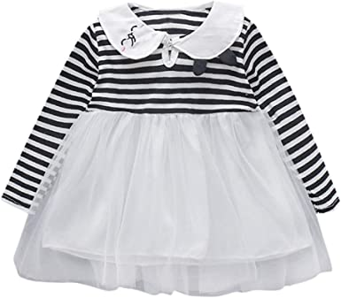 Sameno Fashion Toddler Baby Girl Kids Clothes Long Sleeve Flower Children Princess Tulle Dress