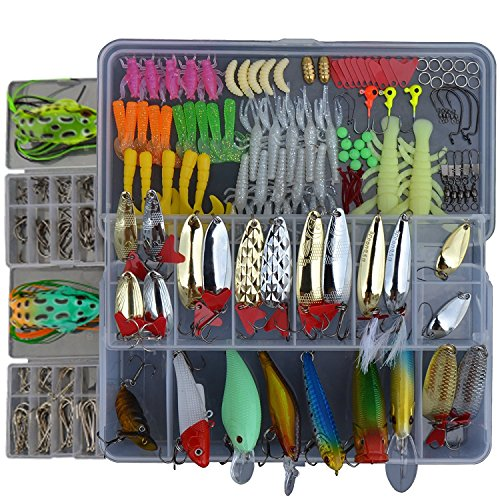 Fishinghappy 1 Set 223Pcs Fishing Lures Baits Tackle Set for Freshwater Saltwater Trout Bass Salmon Spinner Baits Popper Rattlin Minnow VIB Lure Topwater Frog Lures Crankbaits Lures Spoon Lures