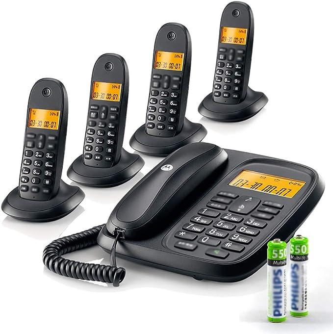 ZYFA Teléfono Fijo Teléfono - Teléfono con Cable y Kit de teléfono inalámbrico, con el Altavoz/Identificador de Llamadas Pantalla/una Sola pulsación, por Negocios o Familia (Color : White, Size : 4): Amazon.es: