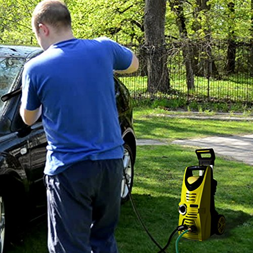 Serenelife Power Water Pressure Washer - Powerful Heavy Duty 1520PSI Manual Adjustable High Low Cold Water Sprayer System & Rolling Wheels - Power Wash Spray Clean Concrete Driveway Car Home SLPRWAS34