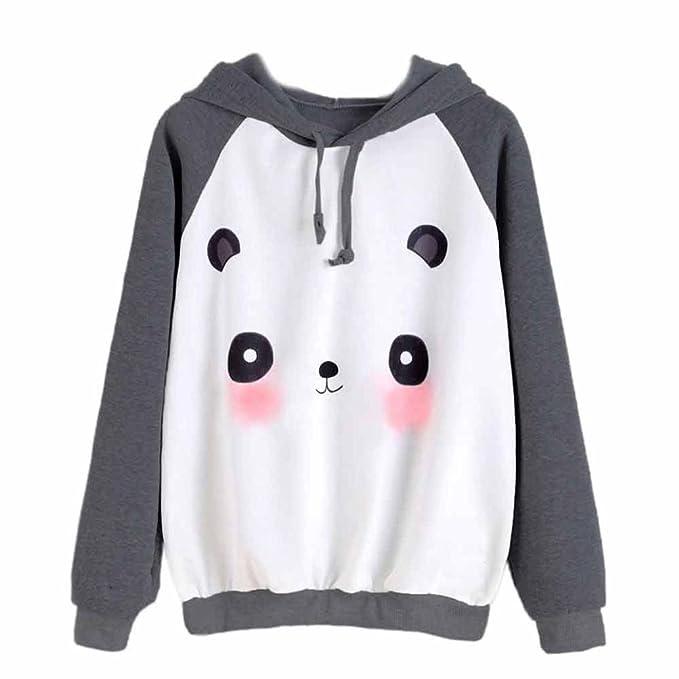 KaloryWee Sudadera para niña de dibujos animados Panda Imprimir sudadera con capucha Sudadera con capucha de Jersey Tops Blusas Tops, Sudadera para Mujer: ...