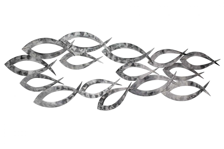 Extravagante KunstLoft® Metall Wandskulptur 'Essence of Power' 38x114x4cm   Design Wanddeko XXL handgefertigt   Luxus Metallbild Wandrelief   Abstrakt Silber Fische Tiere Wasser   Wandbild modern