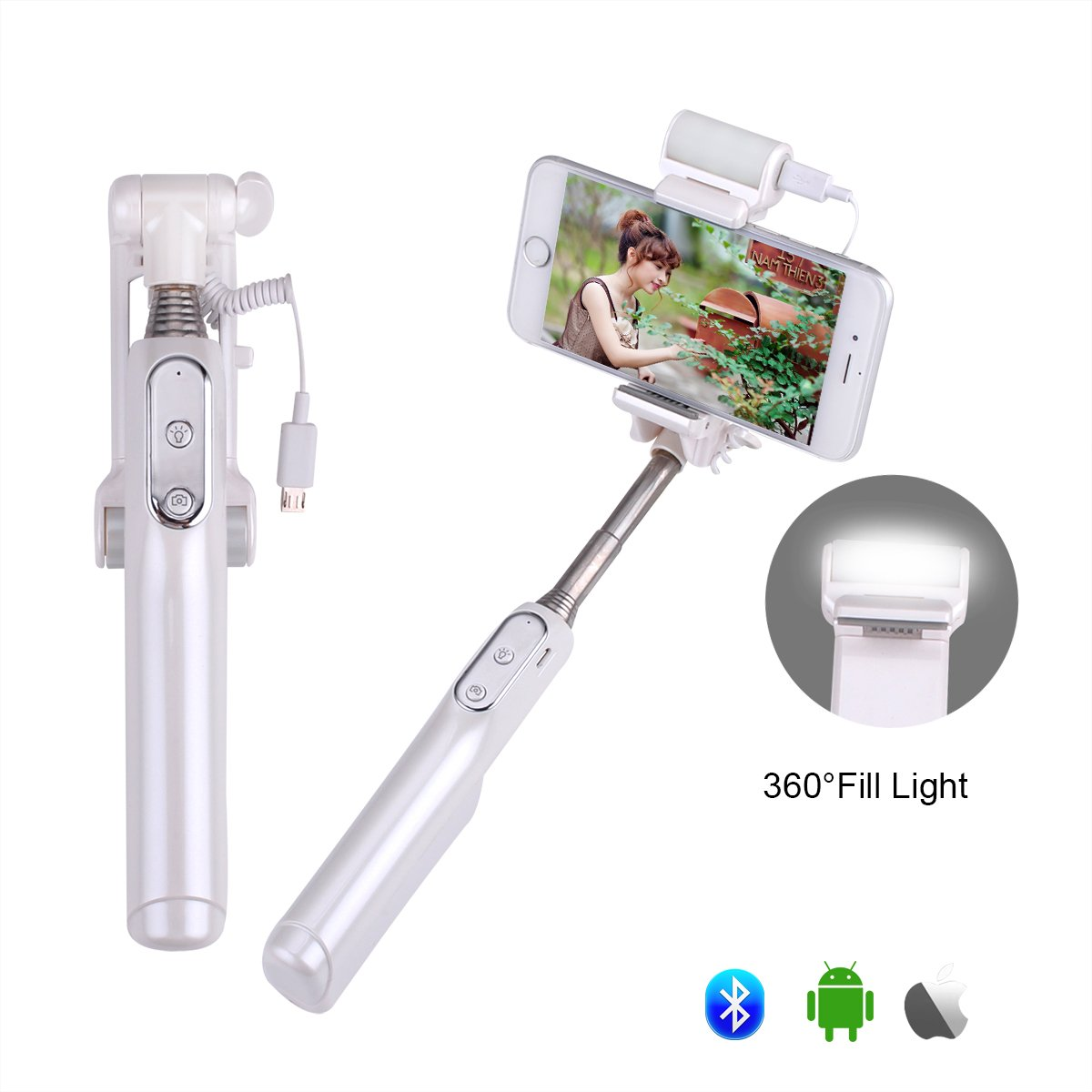 Selfie Stick, GEANOV Bluetooth Selfie Stick with 360 Degree Led Fill Light and Mirror, for iPhones, Samsung Galaxy s7 edge/s4 and more Android System Phones (A6-White)