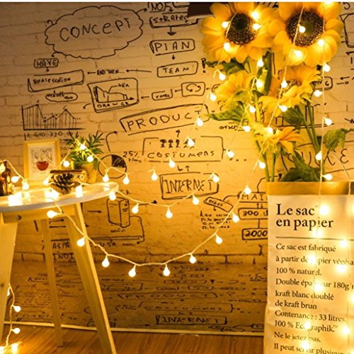 500CM 40 LED Window Curtain Lights String,Dimmable, Ball Lamp House Party Decor DIY Striking,Tuscom (Yellow)