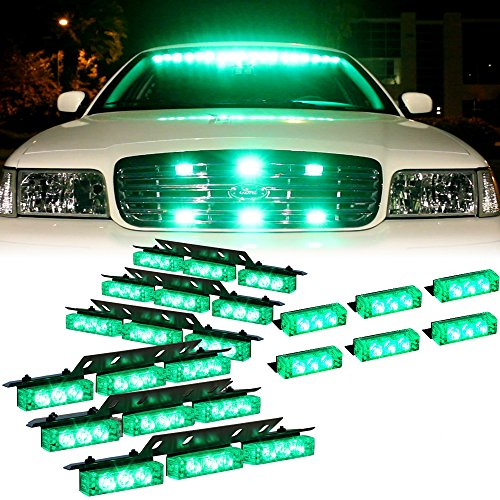 DT MOTOTM Green 54x LED Emergency Vehicle Dash Grill Deck Warning Strobe Lights - 1 set