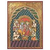 IndianShelf Handmade Paper Ram Darbar Tanjore Painting in Frame Online