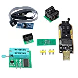 KOOBOOK 1Set CH341A 24 25 Series EEPROM Flash BIOS USB Programmer+SOIC8 SOP8 Test Clip+SPI Flash 1.8V Adapter+SOP8 SOIC8 to DIP8 Adapter Socket Converter