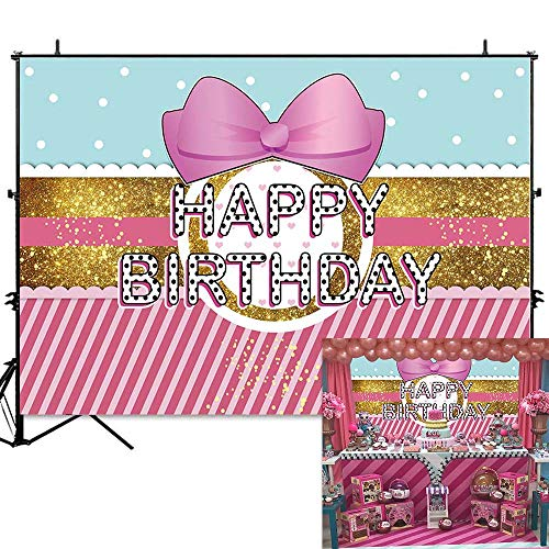 (Allenjoy 7x5ft Pink Bowknot Striped Backdrop Gold Glitter White Dots Girls Birthday Party Background Cake Table Banner Photobooth Props)