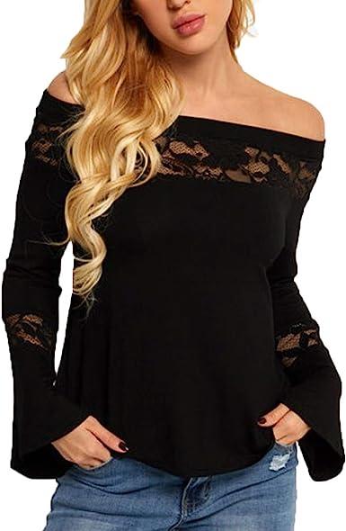 Romanly Blusa de Encaje para Mujer, de Moda 2020 XL 54: Amazon.es ...