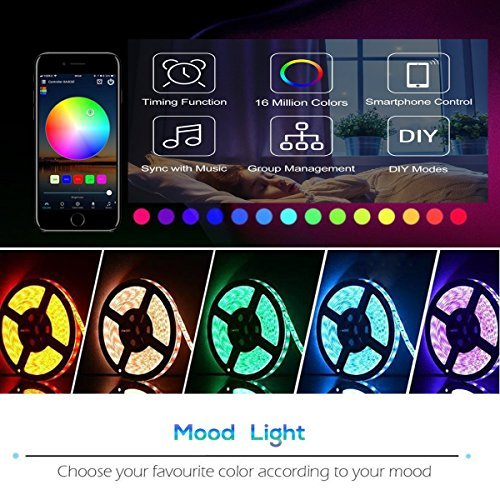 LED Strip Light WiFi Wireless Controller Waterproof Full Kit with Remote & 12V 5A Power Supply 16.4ft 5050 RGB Light Strip Music Work with Alexa Echo, Android & iOS APP and Google Home(300leds) by LinKop (Image #2)