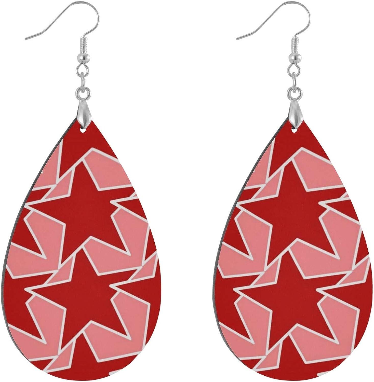 Pendientes de madera con forma de lágrima, modernos aretes geométricos de coral, rojo y rosa, con forma de lágrima, para mujeres y niñas (1 par)