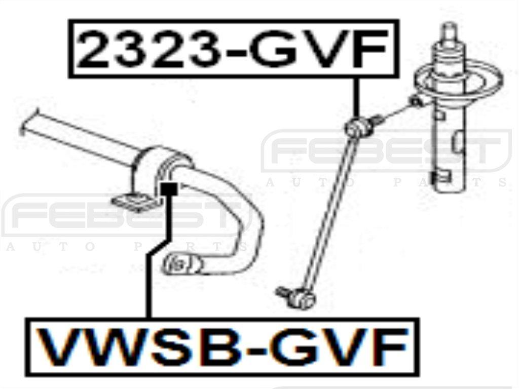 1K0411303AM Febest # VWSB-GVF 1 YEAR WARRANTY Front Stabilizer Bushing