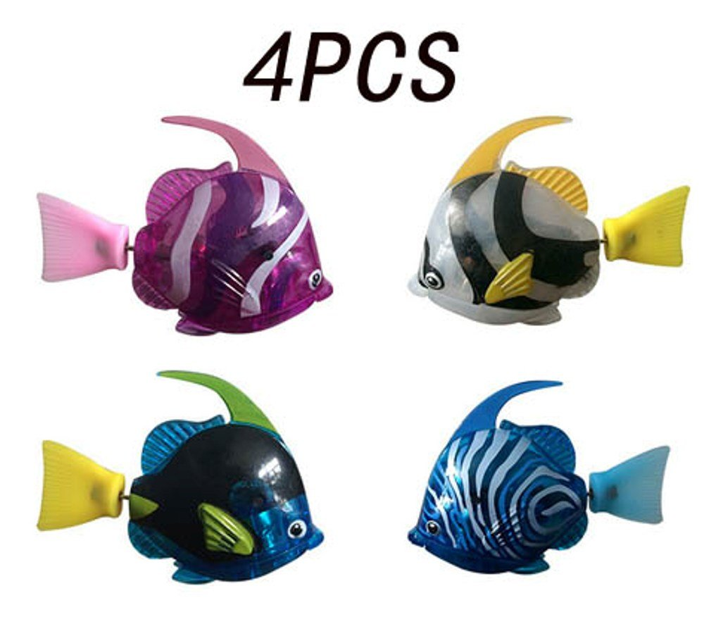 Heartte@ [Pack of 4] Robofish Activated Battery Powered Robo Angel Fish Toy Childen Kids Robotic Gift (NDS-SHYX4)
