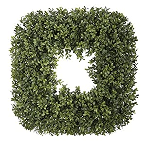 House of Silk Flowers Artificial Boxwood 19-inch Square Wreath 17