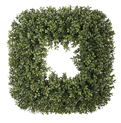House of Silk Flowers Artificial Boxwood Square Wreath, 19""