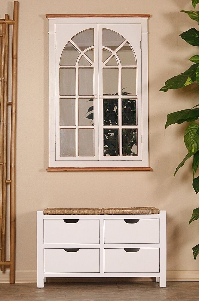 Heather Ann Creations Vale Series Multi Purpose Wooden 4 Drawer Entryway Storage Bench, Whitewash