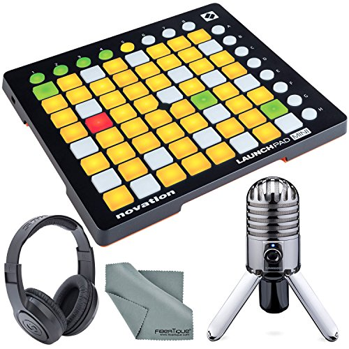 Novation Launchpad Mini Ableton Live Controller MK2 Bundle W/ Samson Meteor Mic USB Studio Condenser Microphone + Fibertique Cleaning Cloth