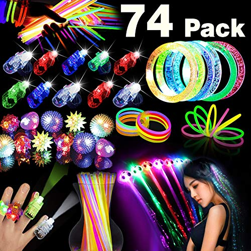 74PCS LED Light Up Toys Glow in The Dark 2019 New Year Eve Party Favor Chritmas Gifts for Kids Adults with 36 Glow Sticks Bulk 20 Finger Lights 10 Flashing Rings 4 LED Bracelets 4 LED Hair Braid Clip