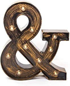 Glintee Ampersand Sign LED Marquee Letter Lights Vintage Style Light Up 26 Alphabet Letter Signs for Wedding Birthday Party Christmas Home Bar Cafe Initials Decor (&)