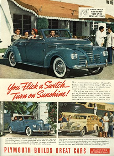 Switch Wagon - Flick a switch turn on sunshine Plymouth Convertible Sedan Wagon ad 1939 NY
