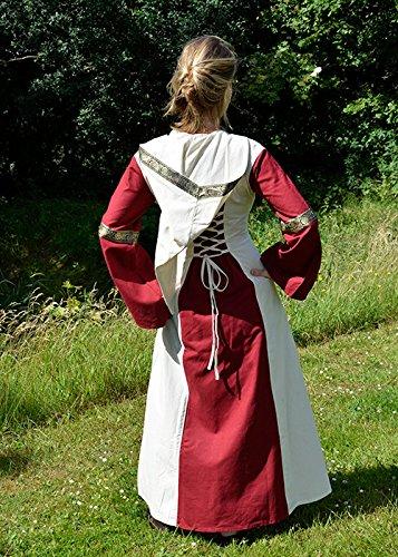 Eleanor XL rot natur S Mittelalter Kleid Gr Damen Kapuze Kleid LARP Wikinger Burgfräulein Kleid mit wU85Sq
