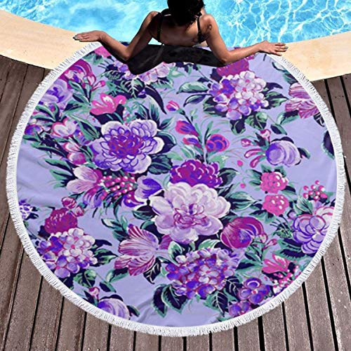 Perfectly Customized Round Beach Towel Blanket with Tassels Modern Floral Microfiber Terry Oversized Summer Circle Picnic Yoga Mat Throws 59 inch Tablecloth Wall Hanging Tapestry Large