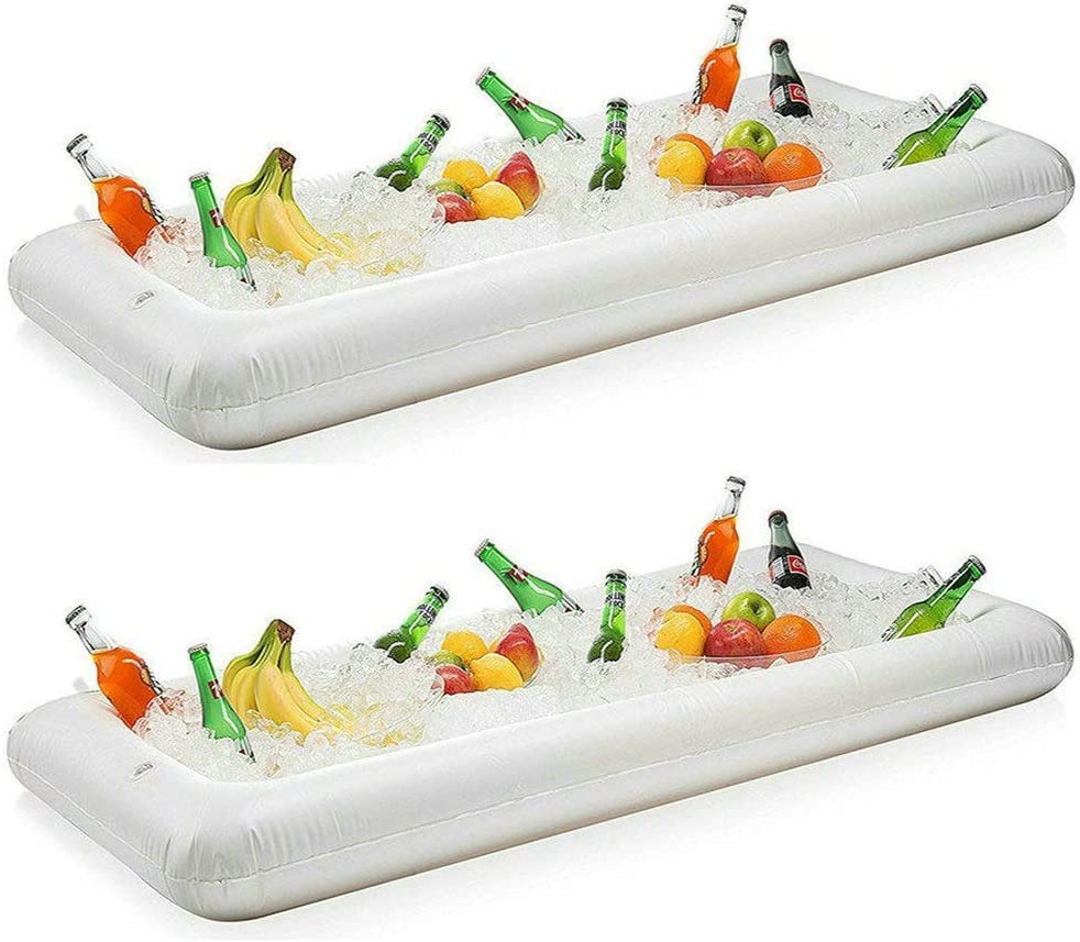 Inflatable Serving Bar Salad Buffet Ice Tray Food Drink Cooler for Picnic Luau Pool Party with Drain Plug, 2 Pack