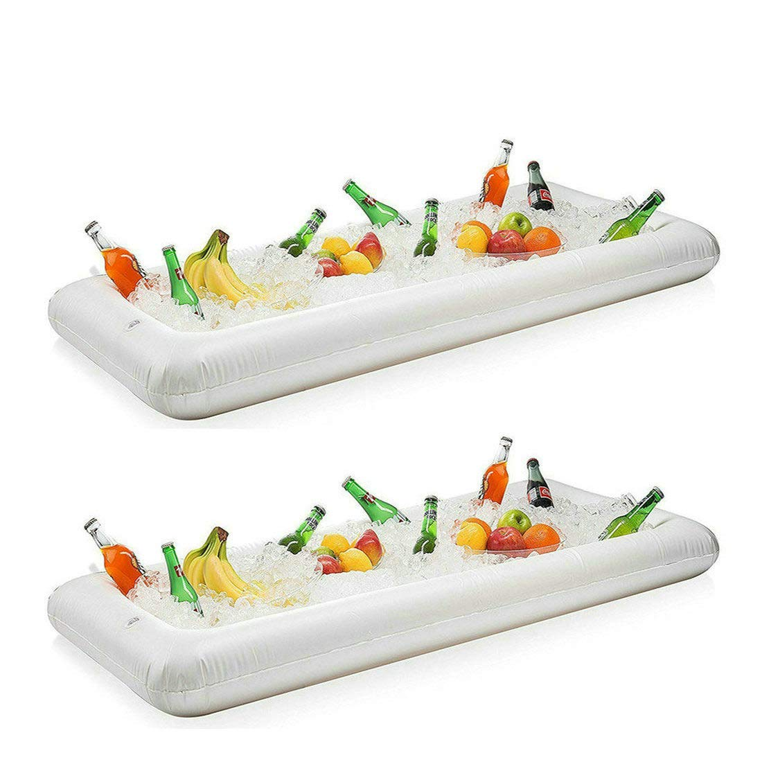 Inflatable Serving Bar Salad Buffet Ice Tray Food Drink Cooler for Picnic Luau Pool Party with Drain Plug, 2 Pack by Funtoys