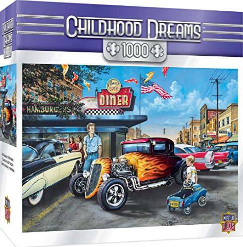 MasterPieces PuzzleCompany Childhood Dreams Hot Rods and Milkskakes Puzzle (1000 Piece), Multicolored, 19.25