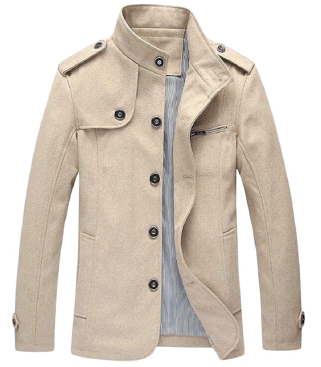 Khaki Xswsy XG-CA Men's Winter Trench Coat Wool Blend Single Breasted Overcoat