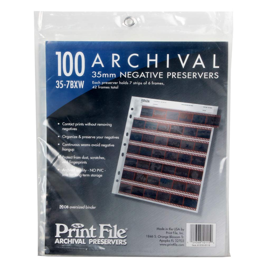 100x Printfile Archival Storage Sheets 35mm 135 Negative Page Preservers 35-7BXW by Print File