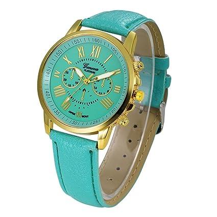 Relojes Pulsera Mujer,Xinan Cuarzo Romana Cuero de Imitación Relojes Regalo (Menta Verde)