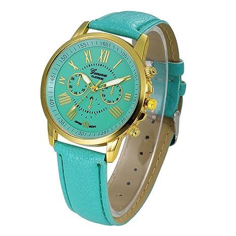Xinantime Relojes Pulsera Mujer,Xinan Cuarzo Romana Cuero de Imitación Relojes Regalo (Menta Verde
