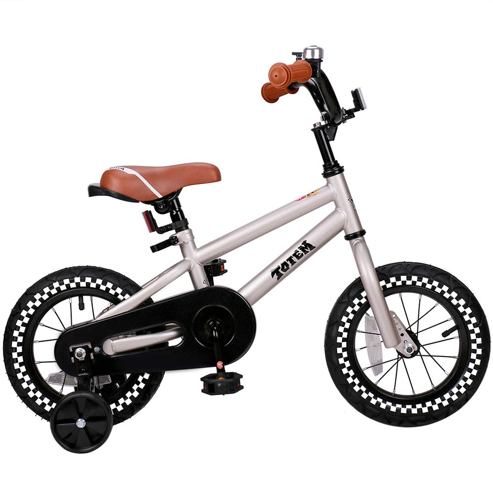 JOYSTAR 12 Inch Silver Kids Bike for 2-4 Years Boys, Kids Bicycle with Training Wheel & Coaster Brake, 85% Assembled