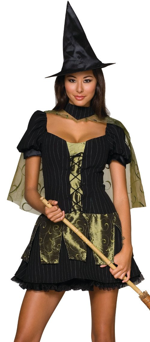 Secret Wishes  Women's Wizard of Oz Wicked Witch Of The West Costume, Black/Olive, Medium