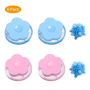 Reusable Washing Machine Filter net Floating lint mesh Bag Dog cat pet Fur Remover Hair Catcher Pouch Flower lint Trap Laundry Ball (6pack type1)