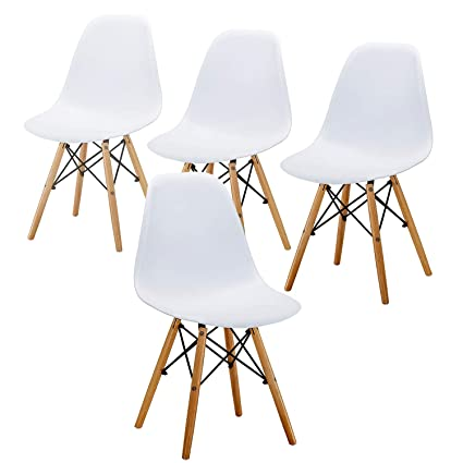 Miraculous Eames Chair Mid Century Modern Style Dining Chair Wooden Legs Side Chairs Plastic Shell Seat For Kitchen Dining Bedroom Living Room White Set Of Bralicious Painted Fabric Chair Ideas Braliciousco
